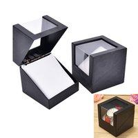 wrist watch gift box оптовых-Черный наручные часы Box 78*78 мм пластиковые серьги дисплей держатель для хранения ювелирных изделий прозрачный чехол Walentine в день юбилея подарок
