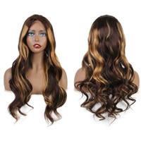 Wholesale brazilian wavy long human hair for sale - Highlight Color Lace Front Human Hair Wigs With Baby Hair Wavy Brazilian Remy Hair Full Lace Wigs Pre Plucked Hairline