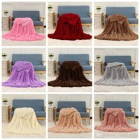 Wholesale snuggle blanket resale online - Shaggy Blankets Fluffy Fleece Background Blanket Solid Wedding Bedspreads Couch TV Sofa Snuggle Bedding Home Textiles Throw Blankets D6879