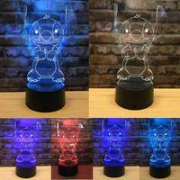 nachtlicht 3d cartoon großhandel-Nachtlicht 7 des netten Karikaturstiftes 3D Tischlampennotenschlafzimmer-Dekorationsgeschenk der Farbänderung LED