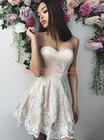 Wholesale stunning knee length dresses for sale - Group buy Stunning Short Juniors Homecoming Dresses With Applique Lace Prom Plus Size Party Ball Gowns Graduation A Line Knee Length Club Wear