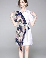 ingrosso sciarpe a catena-abito da donna a maniche corte in maglia a maniche corte con maniche a catena stampate a mano