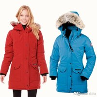 mulheres do ganso do revestimento para baixo venda por atacado-2019 jaqueta de inverno ao ar livre canadense ganso jaqueta para as mulheres com um tamanho casaco quente e longo para baixo espessura quente XS-XL
