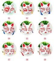 yarım kedi maskesi toptan satış-Cat Fox Shape Masks Japanese PVC Fox Party Masks Masquerade Cosplay Party Supplies Plastic Half Face Halloween Mask GGA2049