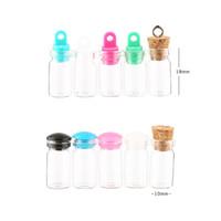 ingrosso bottiglie di fascino vuoto di vetro-0.5ml Mini Cork Top Glass Bottle Vial Charm Kit 0,5CC Bottiglie trasparenti con viti a vite in sughero Plug in plastica - Campione vuoto in miniatura