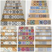 azulejos de mosaico al por mayor-17 Diseño de mosaico de azulejos escalera autoadhesiva impermeable Pvc etiqueta de la pared cocina pegatinas de cerámica decoración del hogar Q190522