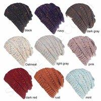 Wholesale new years confetti resale online - Women CC Knitted Ponytail Hats Hot Sale Confetti Back Hole Crochet Hat Girls Warm Ear Muffs Skull Caps Winter Sports Ski Beanies C91807