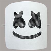 ingrosso divertenti maschere di bocca-Elettrico Sillaba DJ Square Marshmello Maschera Volto sorridente Black Expression Facepiece Fibra Bianco Vizor Funny Mesh Eye Bouth Party 6 9tsb1