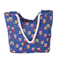 baykuş çantası rengi toptan satış-Kaliteli Moda Kadın Omuz Çantası Tuval Baskılı Baykuş Plaj Çantası Şeker Renk Alışveriş Büyük Kapasiteli Fermuar Çanta Kadın
