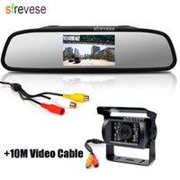 espejos de vehículos al por mayor-18 IR LED del coche del CCD autobús inversa invierte el estacionamiento de reserva de la cámara a prueba de agua + 4,3