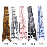 zwillingshandtasche schal großhandel-100 cm * 5 cm Frauen Twilly Kleine Band Schal Haarband Tasche Gebunden Griff Seide Wraps Handtasche Griff Stirnbänder Krawatte
