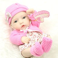 Wholesale full figured clothes online - Classic Inch Princess Girl Doll Handmade Full Silicone Vinyl Reborn Baby Dolls With Red Rose Clothes Set Kids Birthday Gift