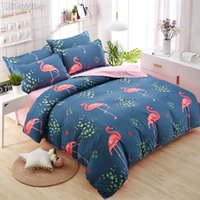 Wholesale gold bedding linens resale online - New Design Hot Flamingos Print Bedding Set High Quality Comforter Cover Set Bed Linen Include Duvet Cover Flat Sheet Pillowcases