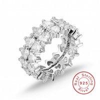 conjunto de anillos de novia corazón al por mayor-Original 925 anillo de bodas de circón de corazón de plata esterlina para novia nupcial mujeres regalo de dedo África moda 2-en-1
