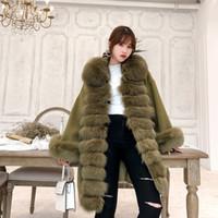 tilki yünlü palto toptan satış-2019 Gerçek Kadınlar Kürk Kış Ceket Doğal Fox Kürk Yaka Kaşmir Yün Uzun Gevşek Dış Giyim Bayanlar Streetwear Y191016 Karışımları