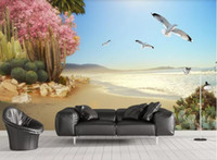 Wholesale art painting flower classic for sale - Group buy 3d wallpaper custom photo mural Naked eye D seaside tropical plants flowers and birds background wall painting home decor wall art pictures