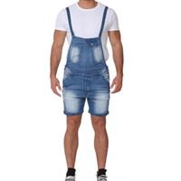 bib tulum denim toptan satış-Yaz Erkekler Kot Tulumlar Şort Sokak Sıkıntılı Denim Önlüğü Tulum Askı Kısa Pantolon Erkek Rahat Kot Tulum