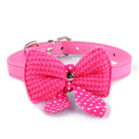 Wholesale knit dog collar online - High Quality Knit Bowknot Adjustable Dog Puppy Pet Collars leash Necklace Hot Selling New Arrival Cool Small Dogs Collars