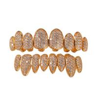 dentes de diamante de cristal venda por atacado-Iced Out Dentes Ouro 14K Grills cristal Superior Inferior Diamante Grillz Dentes Hip Hop Bling cúbica de jóias Zircon Rapper corpo