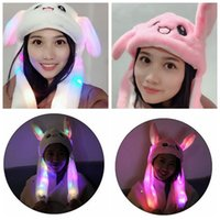Wholesale garden plush for sale - Group buy LED Plush Moving Rabbit Ears Hat Hand Pinching Bunny Ears Jumping Cap Kids Girls Women Sweet Cute Airbag Cap Easter Gift CCA10994
