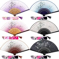 Wholesale chinese styles curtains resale online - Silk Folding Fans Bamboo Hand Held Grassflowers Chinese Japanese Fan with Fabric Sleeves for Protection Gift for Women and Girls