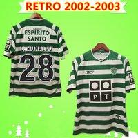 mochilas de esportes vintage venda por atacado-retro 2002 2003 camisas de futebol # 28 C.Ronaldo 02 03 Maillot Vintage DANNY Camisa de Futebol camisas de futebol SA PINTO S-2XL Sporting Lisboa
