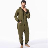 grünes nachthemd großhandel-Sales Adult Sleep Lounge Sterne Armee grün bedruckte Herren Nachtwäsche Unisex Onesies Sleepsuit Hombre Nachthemd ein Stück Unterwäsche