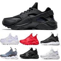 bayan rahat ayakkabılar toptan satış-2019 Huarache 4 Erkekler Kadınlar Için Rahat Ayakkabılar Nefes, Kadın Erkek Lacivert tan Huaraches Renkli Sneakers Atletik Eğitmenler Boyutu 36-45