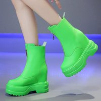Wholesale candies wedges shoes for sale - Group buy Boots Women Pu Leather Wedges Zipper Ladies Shoes Green High Increase Outdoor Casual Fashion Candy Color Ankle Platform Boots