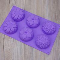 el işleri çiçekleri toptan satış-6 Çiçek Kek Pişirme Kalıpları DIY El İşçiliği Saf Renk Silicome Çiçekler Yuvarlak Sabun Kalıplar 4 4syE1 3 set Şeklinde