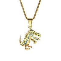 gümüş dinozor kolye toptan satış-Karikatür Animasyon Dinozor Kolye Kolye Erkekler ve Kadınlar için Hip-Hop Takı Altın Gümüş Yeni Sıcak
