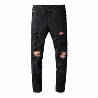 ingrosso pantaloni colorati uomini scarni-Distressed Jeans Destroyed uomo Rainbow Colored Stampa costine Patch Skinny Lavato Nero Pantaloni a sigaretta pantaloni slim