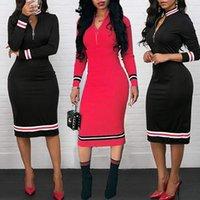 ingrosso abiti di media lunghezza neri-Le donne 2019 si vestono in nero, bianco, rosso, a righe, con zip, abito casual, abito sexy per donna