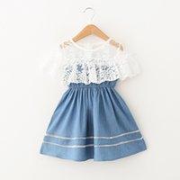 elastische spitzenkleider großhandel-2019 Sommer Sweet Princess Denim Dress for girl Kinderbekleidung mit großem Umhang aus Spitze Elastischer Bund 100% Baumwolle Boutique