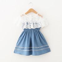 capa de mezclilla al por mayor-2019 Summer Sweet Princess Denim Dress para niña Ropa para niños con gran capa Cuello de encaje Cintura elástica 100% Algodón Boutique