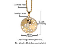 Wholesale map diamond for sale - Group buy Designer Hip hop Stainless steel Map of Diamond World Necklace Pendant Jewelry Fashion Personality Exaggeration Pendant Necklace Jewelry