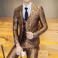 männliche kostümmuster großhandel-Kostüm Homme Slim Patterns Beschichtung 3 Stücke Sets Männlichen Nachtclub Friseur Casual Dress