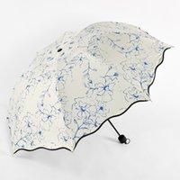 mini siyah şemsiyeler toptan satış-Güneş Mini Cep Katlanır Şemsiye Yağmur Kadın Erkek Beyaz Yağmurlu Şemsiye Anti-Uv Su Geçirmez Taşınabilir Siyah Kaplama Şemsiye 40U0098