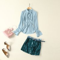 ingrosso camicia blu nuovo stile-Abbigliamento donna europea ed americana 2019 estate nuovo stile a maniche lunghe camicia blu gonna con paillettes cinture di moda vestito
