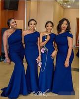 vestidos de dama de honor reales nigerianos al por mayor-Sirena sexy de un hombro, azul real, vestidos de dama de honor largos 2019 Patrones baratos, vestido nupcial africano de Nigeria, más el tamaño, vestidos formales
