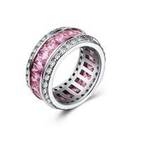 Wholesale silver amethyst wedding band resale online - Jewelry Sterling Silver Princess Cut Multi Color CZ Diamond Amethyst Gemstones Women Wedding Circle Band Ring Gift