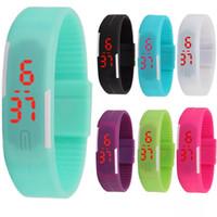 relogios multi-cores unisex venda por atacado-Moda Unisex Esportes LED Assista Silicone Multi-Color Digital Relógio de Pulso Data Hora Led Toque Relógio Criativo Pulseira Ao Ar Livre TTA707