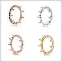ingrosso fare anelli d'argento-2018 Pandora anello elastico 925 in oro rosa rosa incantate Crown Anelli originale modo di fascini monili DIY Per le donne che fanno