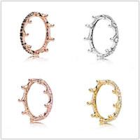 fazendo prata esterlina venda por atacado-2018 Primavera Pandora Anel 925 Sterling Silver Rose ouro rosa Enchanted Crown Anéis Original Moda DIY encantos jóias para mulheres que fazem