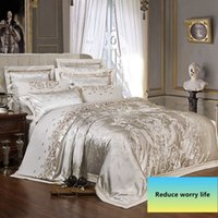 Wholesale silk sliver resale online - Sliver Gold Luxury Silk Satin Jacquard duvet cover bedding set queen king size Embroidery bed set bed sheet Fitted sheet