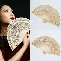 Wholesale Sandalwood Wooden Hand Fan Chinese Japanese Wood Scented Folding Fans Bridal Wedding Fans Wedding Birthday Gift