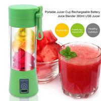 meyve suyu makineleri toptan satış-380 ml USB Şarj Edilebilir Blender Mikser Taşınabilir Mini Sıkacağı Suyu Makinesi Smoothie Maker Ev Küçük Suyu Sıkacağı Yeni Damla
