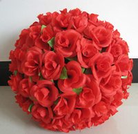 bolas venda por atacado-40cm Large Simulation Silk Flowers Artificial Rose Kissing Ball For Wedding Valentine's Day Party Decoration Supplies EEA489