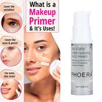 fondations de contrôle de l'huile achat en gros de-Phoera Primer Makeup Base 6ML Oil Control Professional Matte MakeUp Pores Brand Foundation Primer outil de base pour vous rendre plus belle