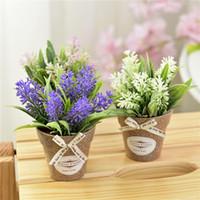 mini vases verts achat en gros de-Artificielle Plante Décorative Fleur Décoration De La Maison Faux Fleur Petite Mini En Pot Bonsaï Plante Verte 1 Ensemble Et Vase